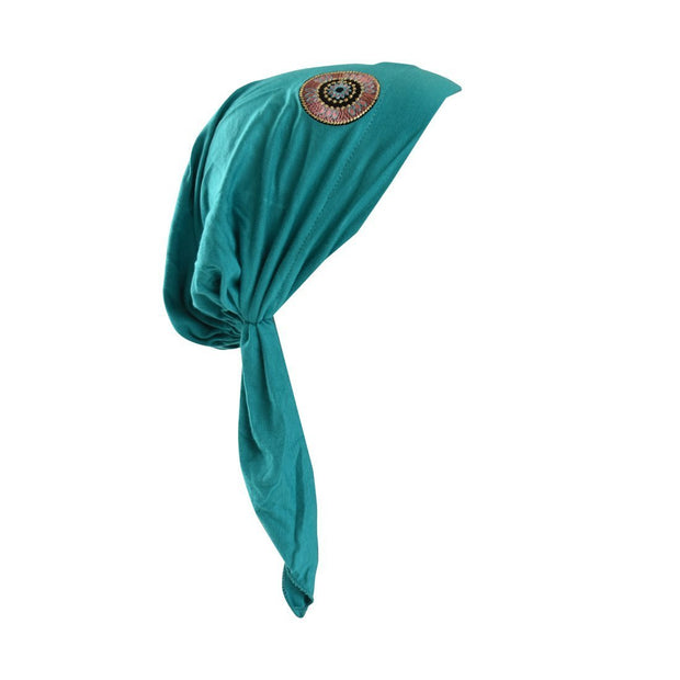 Pretied Bandana Cancer Hat Modesty Scarf with Tribal Bling