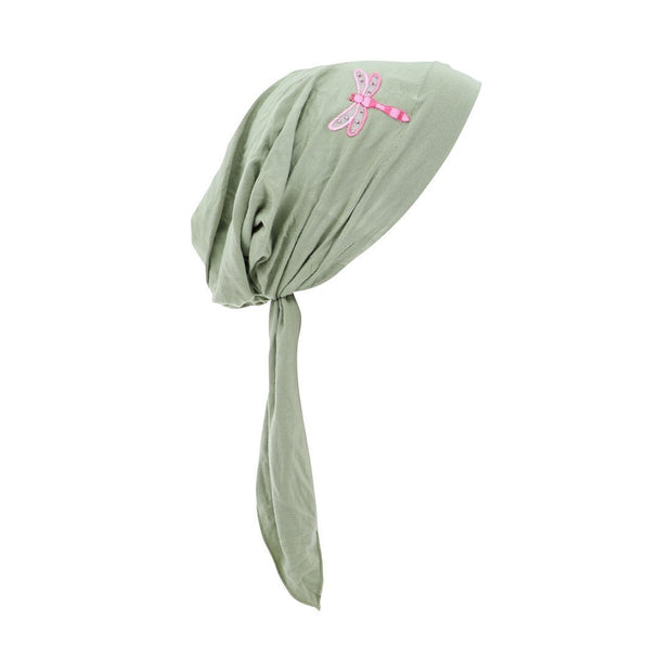Pretied Bandana Cancer Scarf with Light Pink Dragonfly