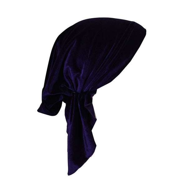 Velvet Pretied Chemo Cap with Short Ties
