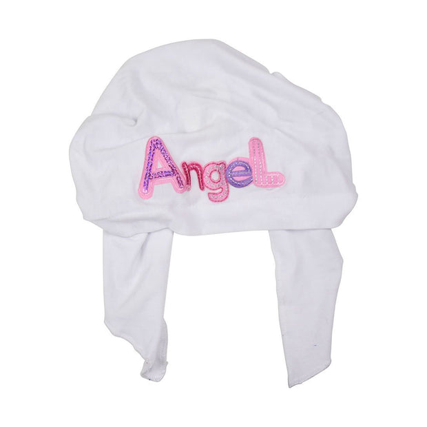 Pink Angel Applique on Child's Pretied Head Scarf Cancer Cap