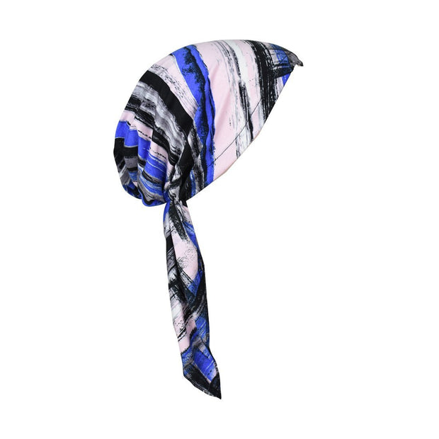Printed Pre-Tied Headscarves Viscose Chemo Head Cover Cancer Headscarf Pink Blue Strokes