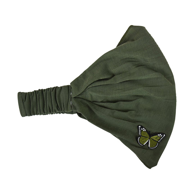 Head Wrap with Green Butterfly Applique