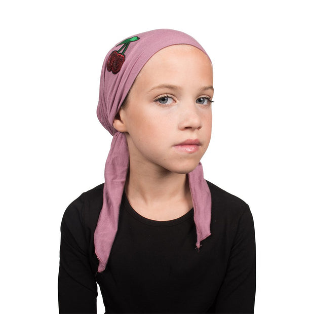 Sequin Cherries Applique on Child's Pretied Head Scarf Cancer Cap