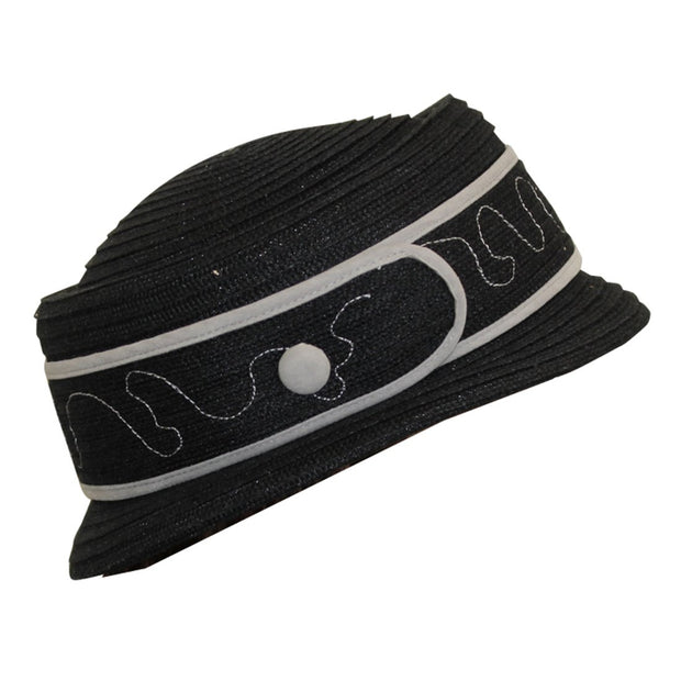 Landana Headscarves Black Fashion Hat with Buckle Applique