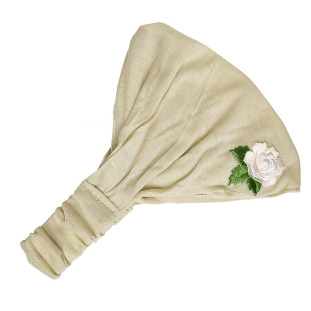 Cotton Headwrap with Cream Rose