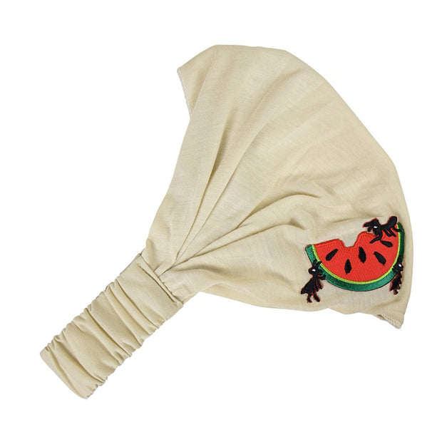 Soft Wide Head Wrap with Watermelon Motif