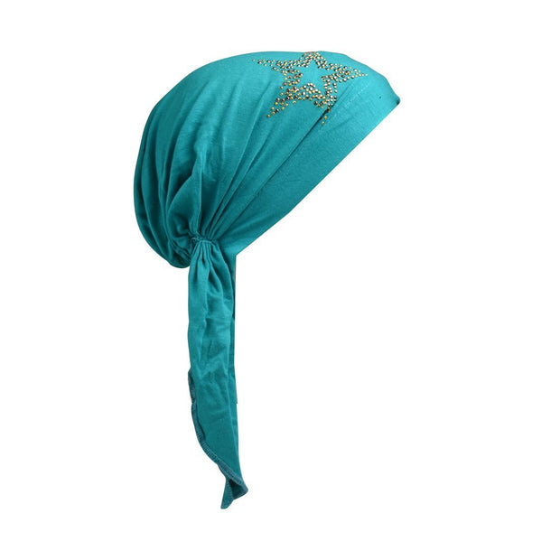 Kids Chemo Cap Pretied Head Scarf with Studded Star