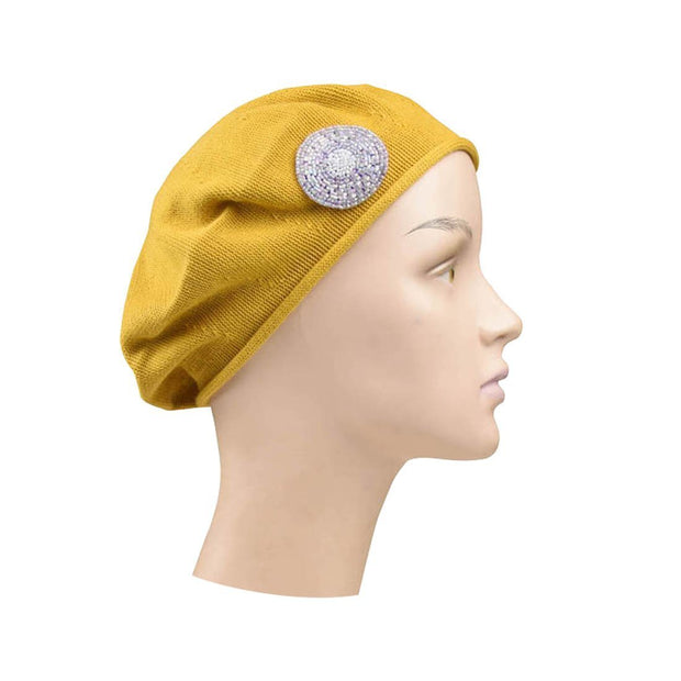 Beaded Lavender Circle on Beret for Women 100% Cotton - Mustard