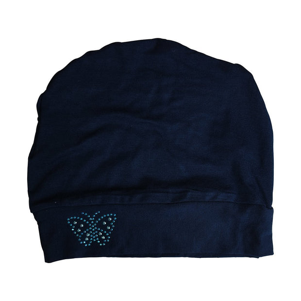 Landana Headscarves Blue Stud Butterfly Chemo Sleep Cap Beanie