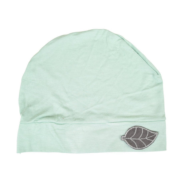 Womens Soft Sleep Cap Comfy Cancer Hat with Grey Leaf Applique