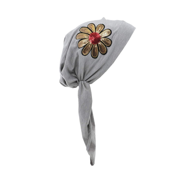 Landana Headscarves Pretied with Large Gold & Red Flower
