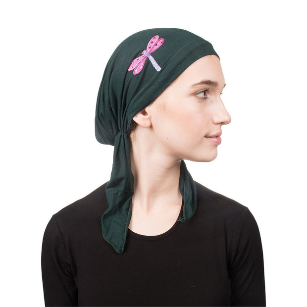 Pretied Head Scarf Sequin Dragonfly Modesty Chemo Cap
