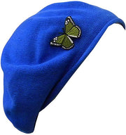 Blue Beret for Women 100% Cotton Solid - Green Butterfly on Side