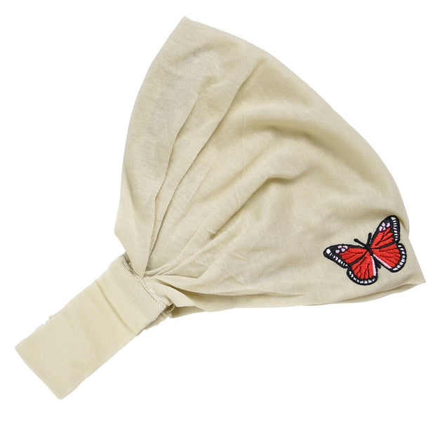 Head Wrap with Red Butterfly Applique