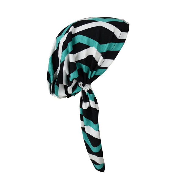 Printed Pre-Tied Headscarves Viscose Chemo Head Cover Cancer Headscarf Teal Geometric