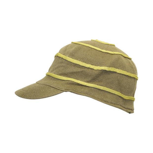 Olive Green Cotton Cap Ladies Size Small with Contrast Swirl Design
