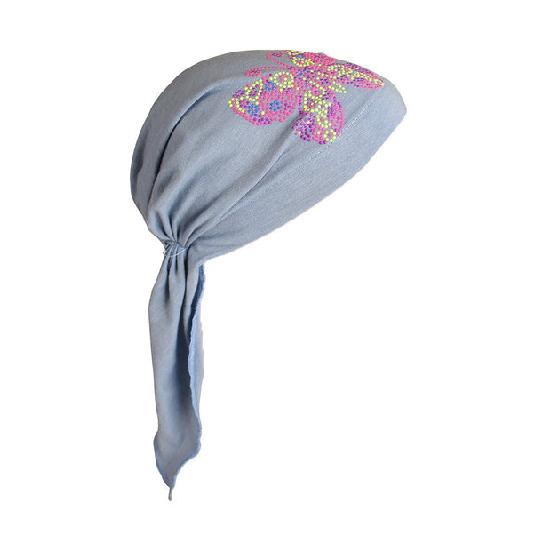 Kids Pretied Head Scarf with Bright Neon Butterfly Studs