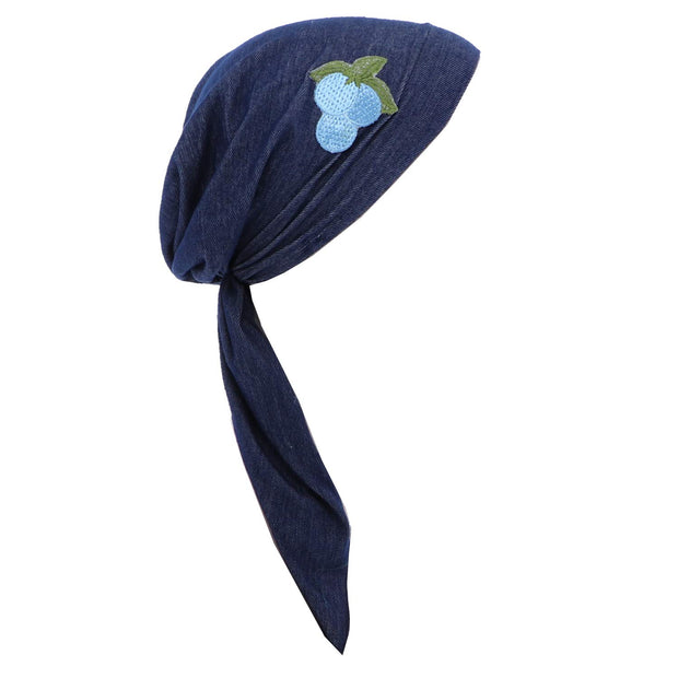 Pretied Headscarf Chemo Cap Modesty with Grape Cluster Applique