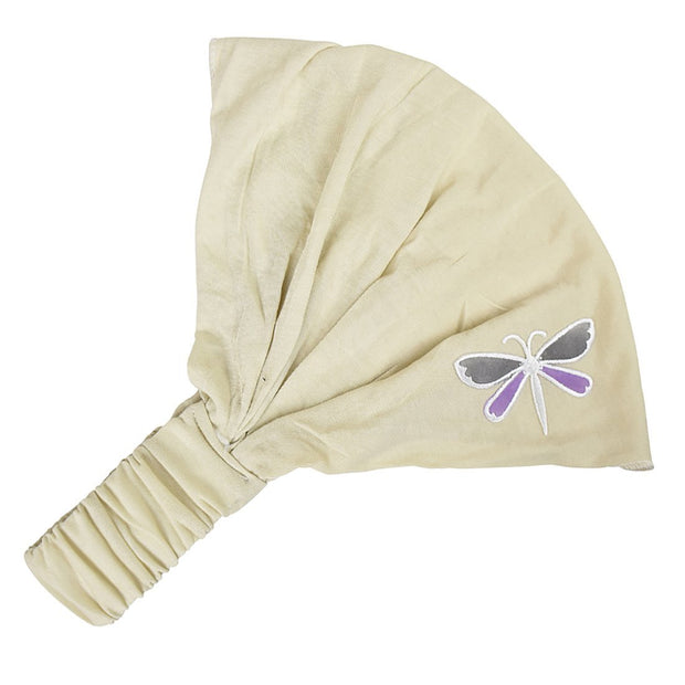 Cotton Headwrap with Lavender & White Dragonfly