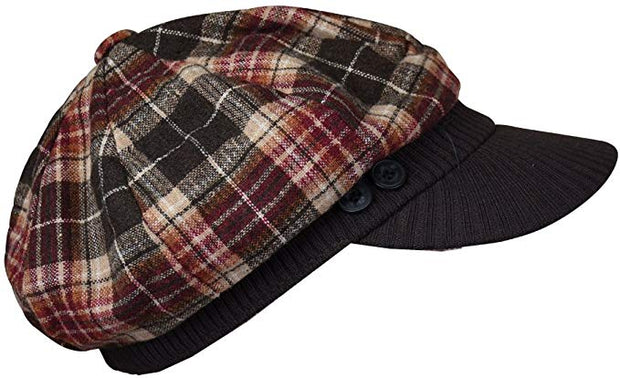 Brown Plaid Winter Cap with Ribbed Visor