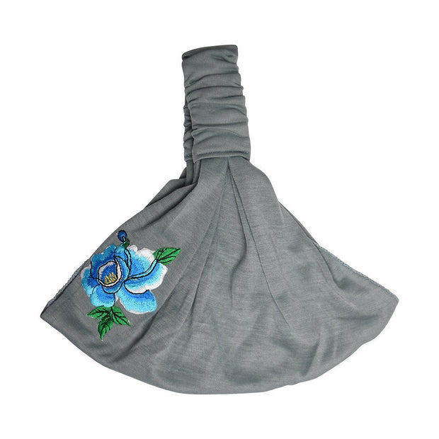 Cotton Headwrap with Blue Flower with Leaves