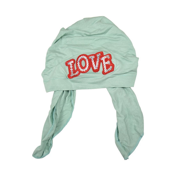 Sequin Love Applique on Child's Pretied Head Scarf Cancer Cap