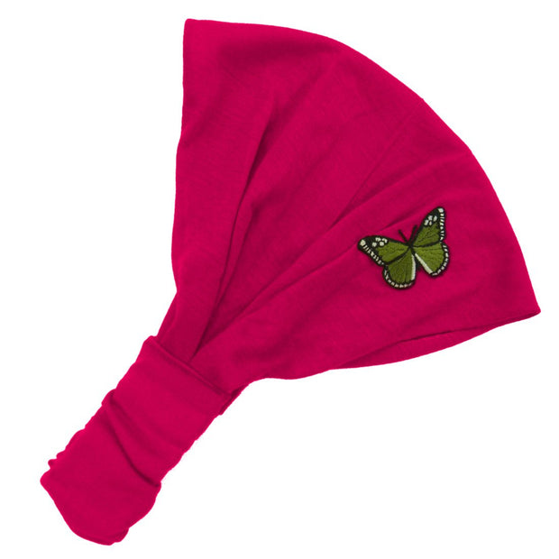 Pretty Butterfly Wide Cotton Hair Band Solid Boho Yoga Style Soft Headband
