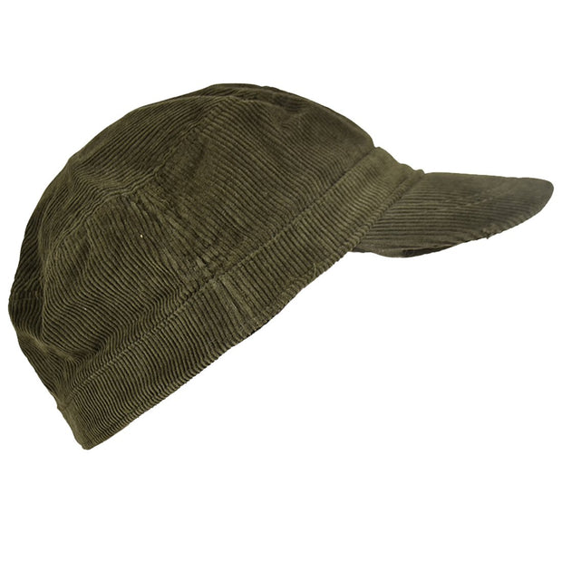 Landana Headscarves Corduroy Military Hat Olive Green Cadet Cap