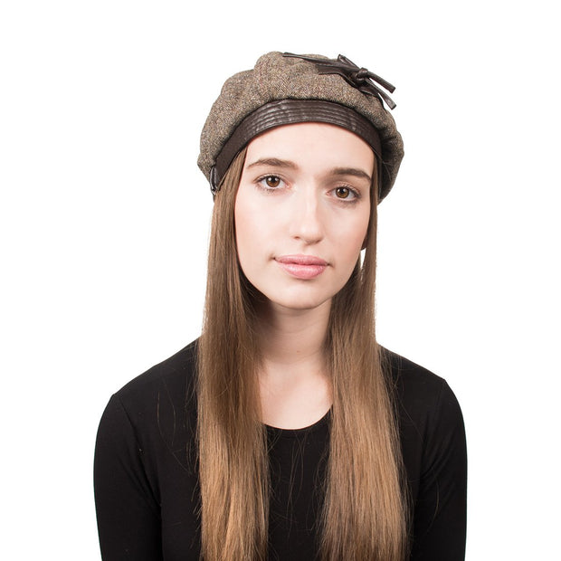 Landana Headscarves Tweed hat with Leather Bow for Women Brown