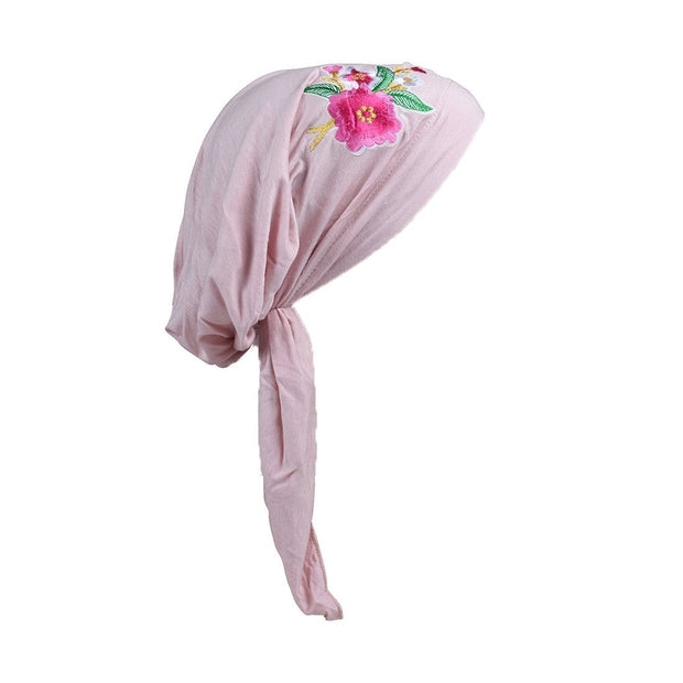 Pretied Headscarf Chemo Cap Modesty with Pink Flower Bouquet