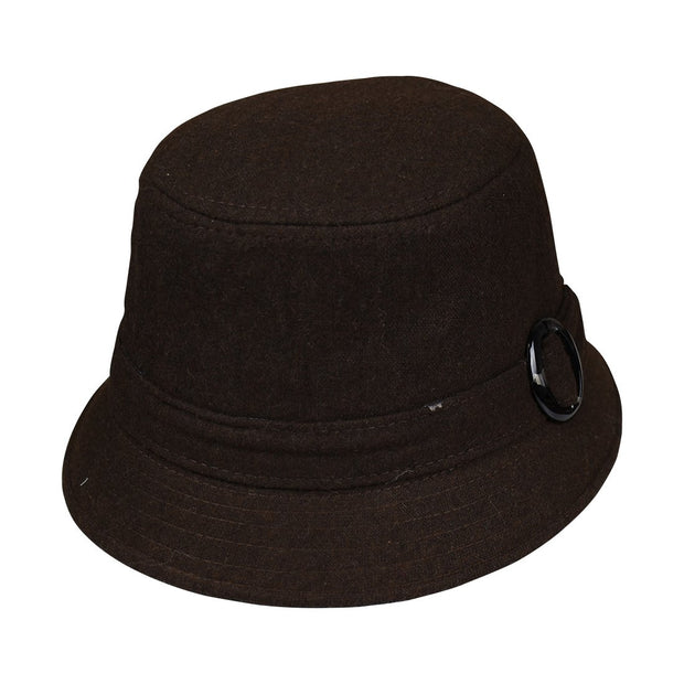 Landana Headscarves Wool Ladies Bucket Hat Cloche with Round Buckle