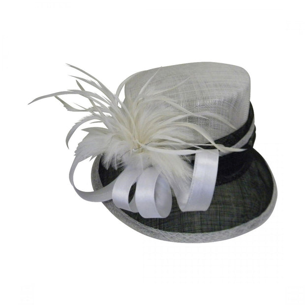 Landana Headscarves Black & White Hat with Ribbon and Feather Flower
