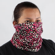 Cotton Stretch Neck Gaiters Multi Use Scarf (Neon Pink Leopard)