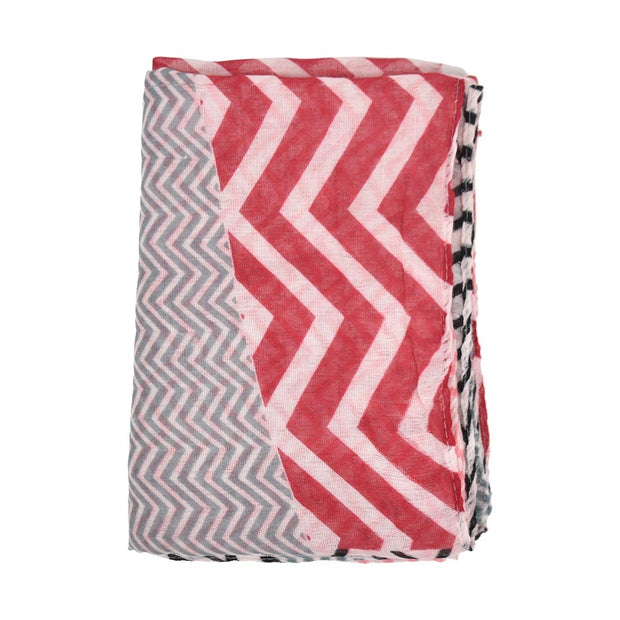 Oblong Headscarf with Zig Zag Pattern