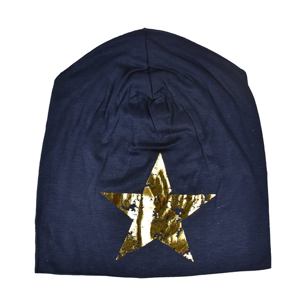 Slouchy Cotton Beanie with Foil Star