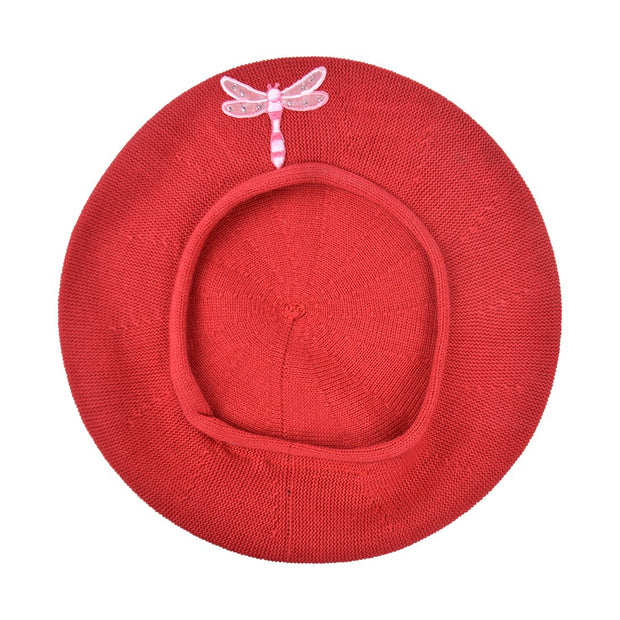 Landana Headscarves Beret with Light Pink Dragonfly Applique
