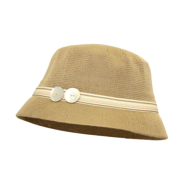 Brown Bucket Hat with Colorful Band and 2 Buttons Cloche Ladies Hat