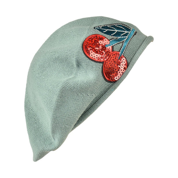 Landana Headscarves Cotton Ladies Beret with Large Sequin Cherries