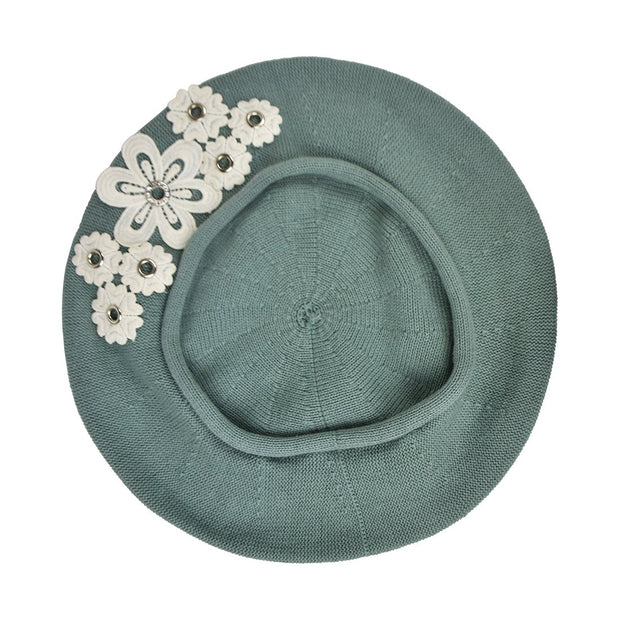 Beret with Floral Grommets