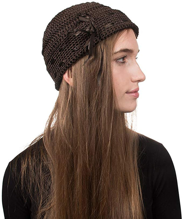 Landana Headscarves Brown Womens Beanie Pull on Hat with Ribbons