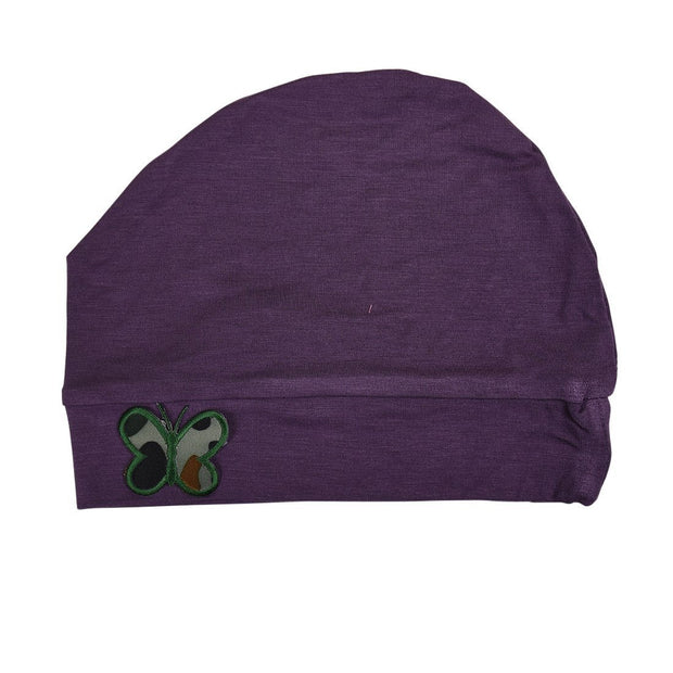 Sleep Cap / Wig Liner with Green Camo Butterfly Applique