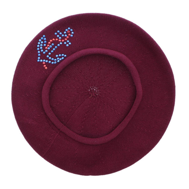 Cotton Ladies Beret with Large Anchor Applique-Brown