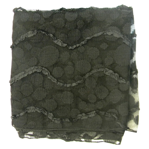 Sheer Black Head Scarf with Polka Dots & Ruffles