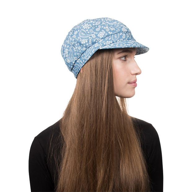 Denim Hat with Paisley Floral Pattern
