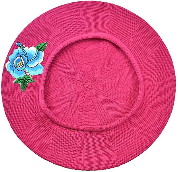 Blue Flower with Leaves Applique on Cotton Beret Womens Head Cover - Blue