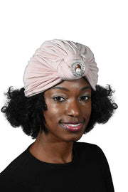 Ladies Headscarves Turban with Silver Pearl Circle