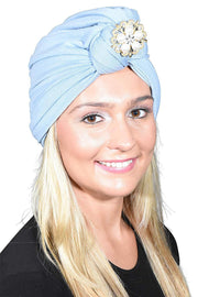 Ladies Headscarves Turban with Gold Pearl Diamond