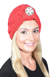Ladies Headscarves Turban with Silver Pearl Diamond