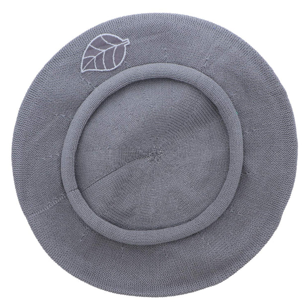 Grey Leaf Applique on Beret for Women 100% Cotton-Green