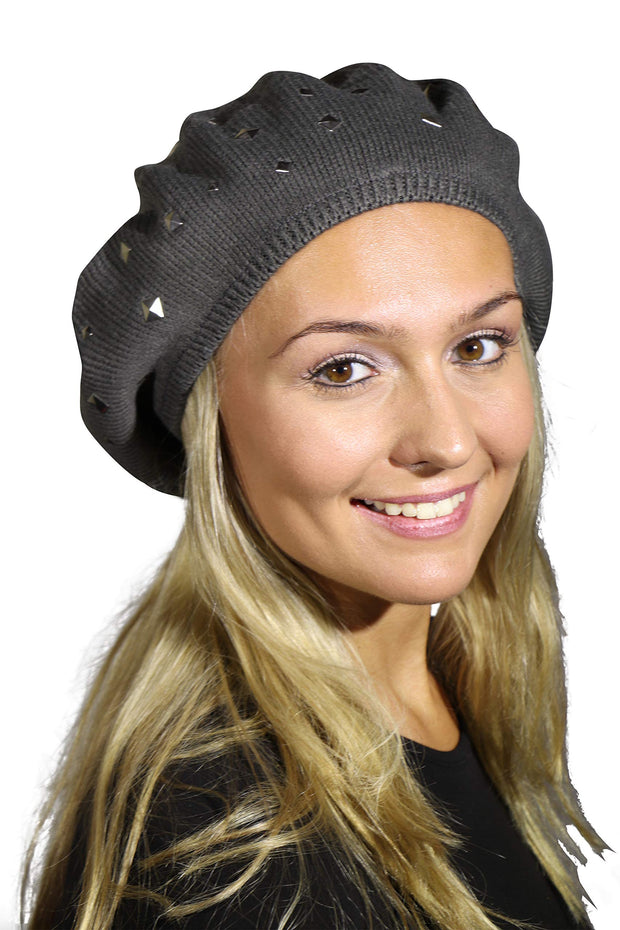 Beret / Snood with Silver Studs